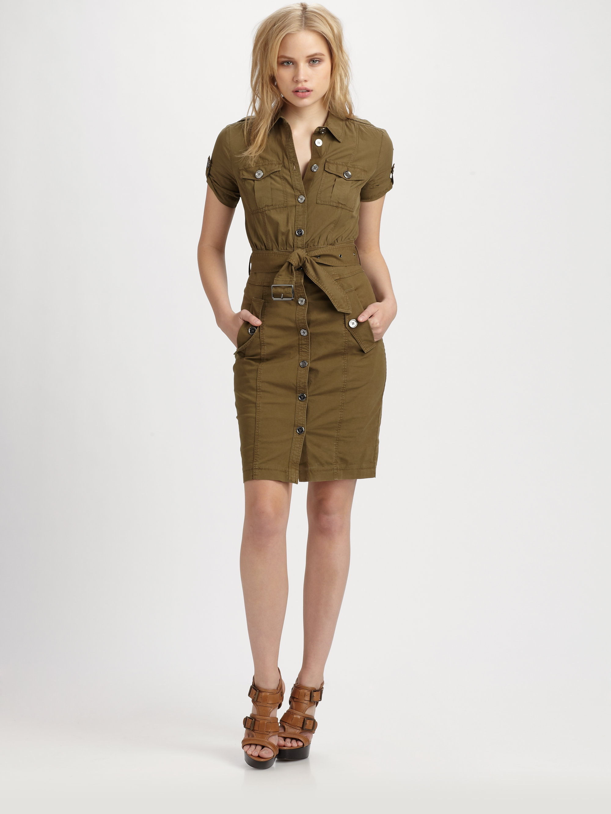 Lyst Burberry Brit Stretch Cotton Cargo Dress In Natural