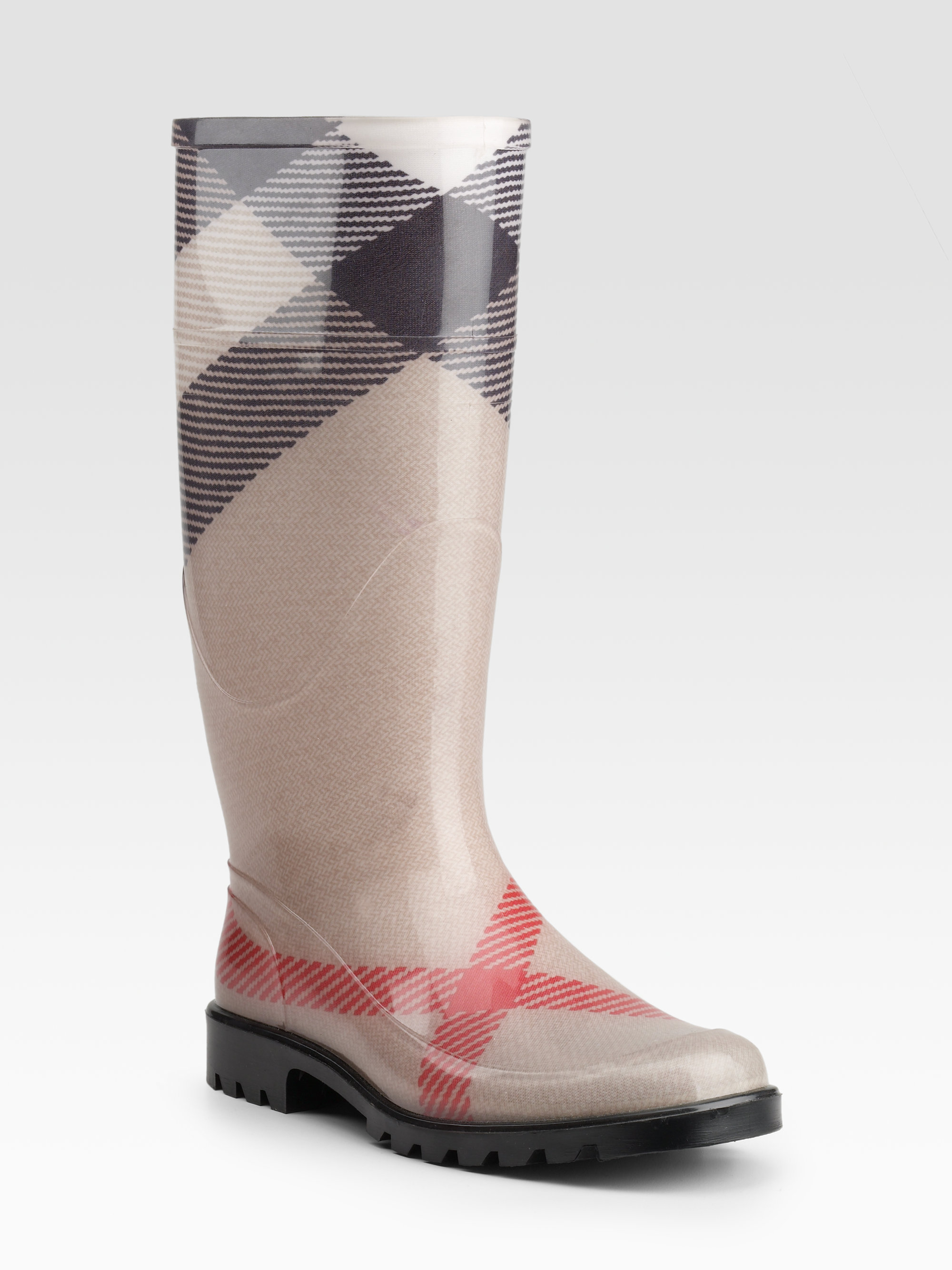 Lyst - Burberry Check Rain Boots in Black : burberry quilted rain boots - Adamdwight.com