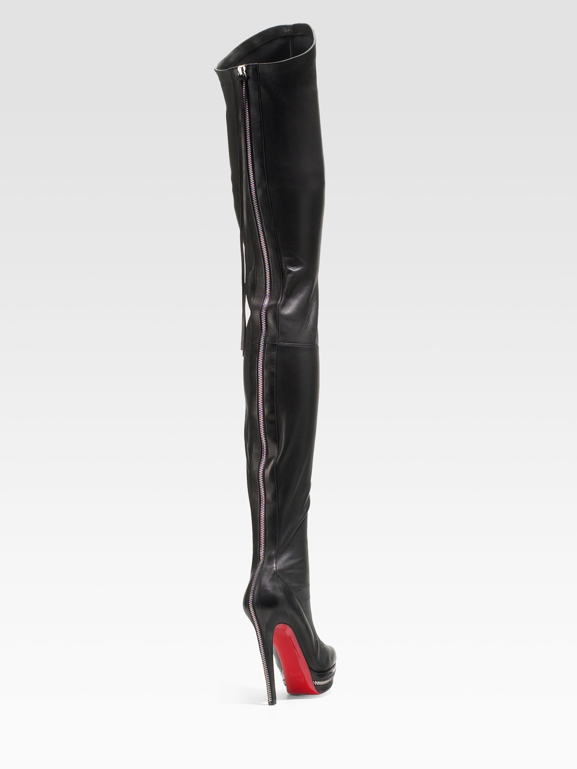 Christian louboutin Unique Thigh high Platform Boots in Black | Lyst