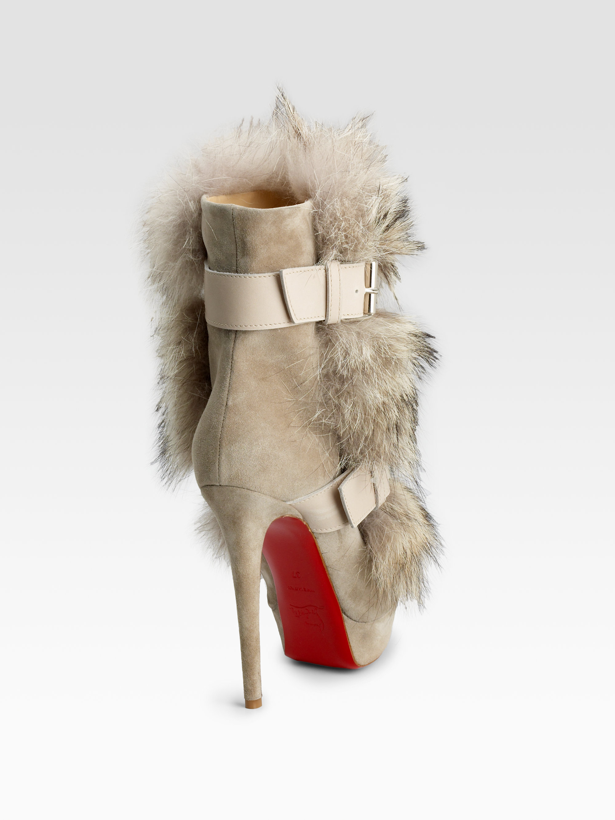 5d6e4afe8c5b ... reduced lyst christian louboutin toundra coyote fur trimmed suede ankle  0651e e1b00