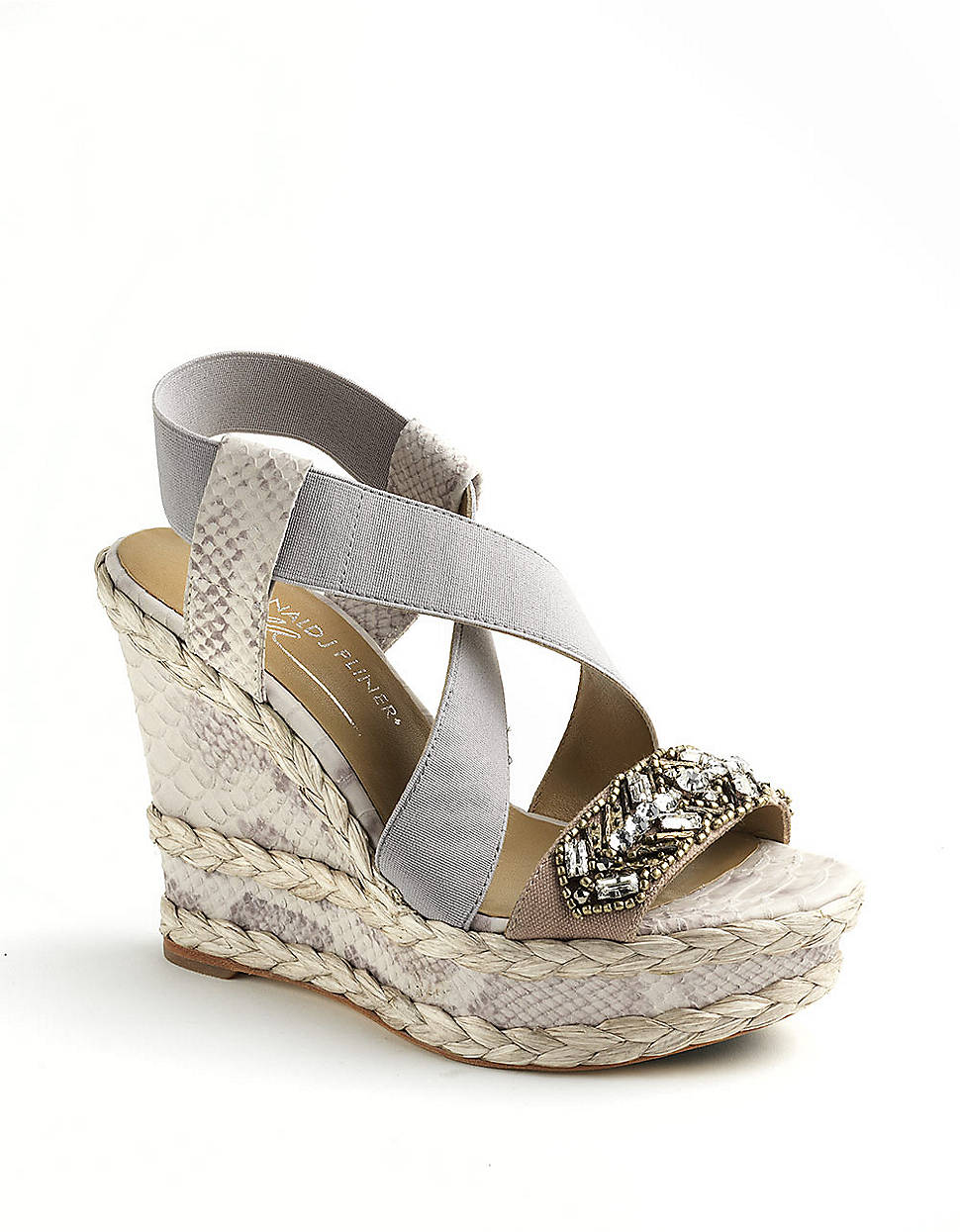 donald j pliner tiki embellished wedge sandals in gray