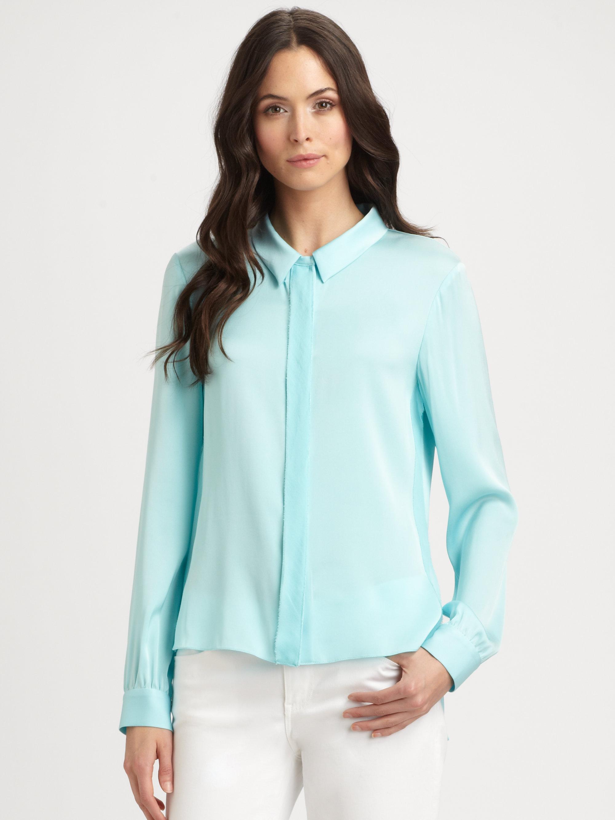 Elie tahari Brenda Stretch Silk Blouse in Blue | Lyst