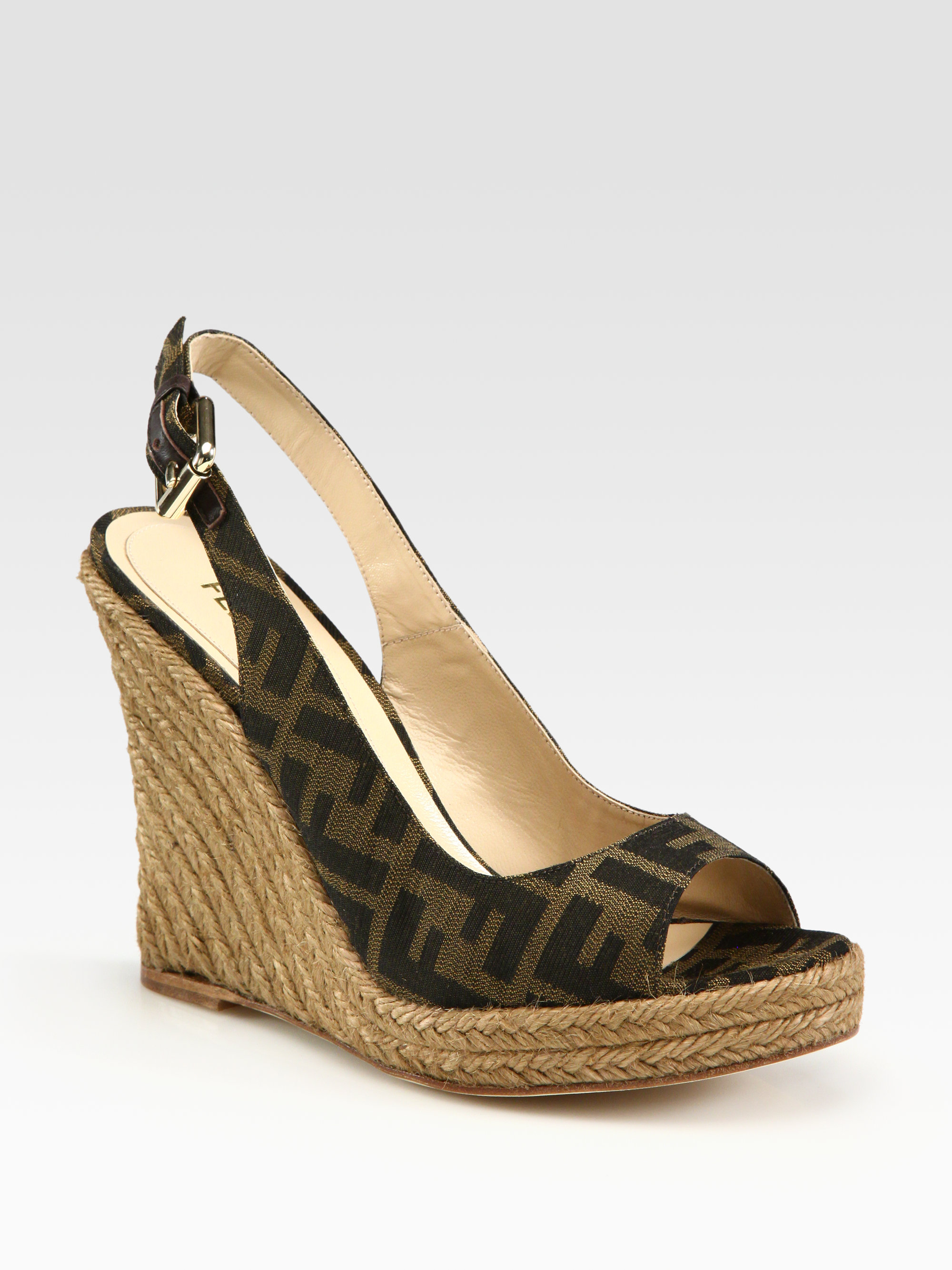 d7899883be3 Lyst - Fendi Monogram Canvas Slingback Espadrille Wedge Sandals in Brown