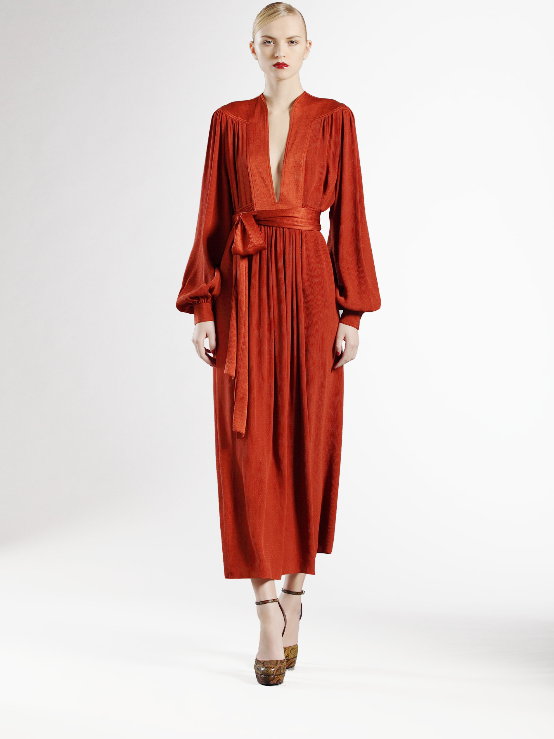 Gucci Long Silk Dress In Cognac Orange Lyst