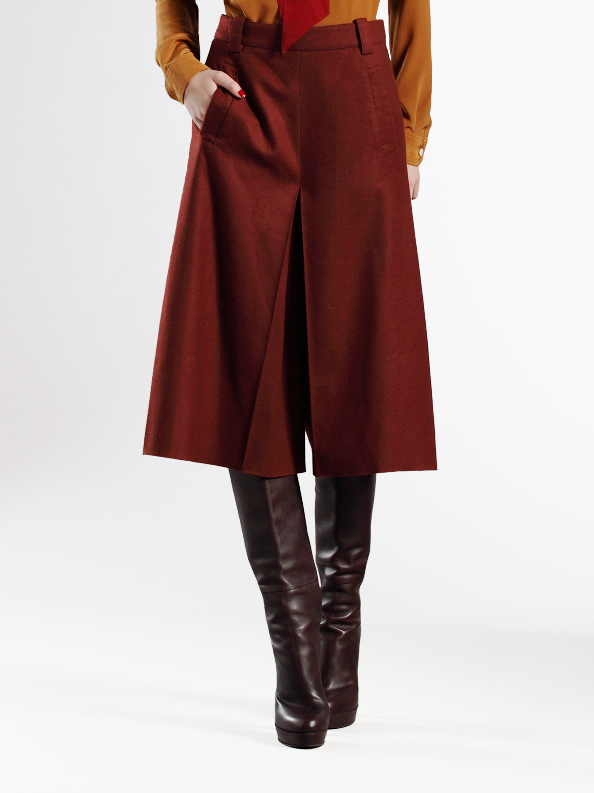 Gucci Woolcashmere Gaucho Pants in Red | Lyst