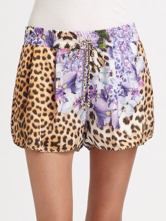 Just Cavalli Printed Drawstring Shorts - Lyst