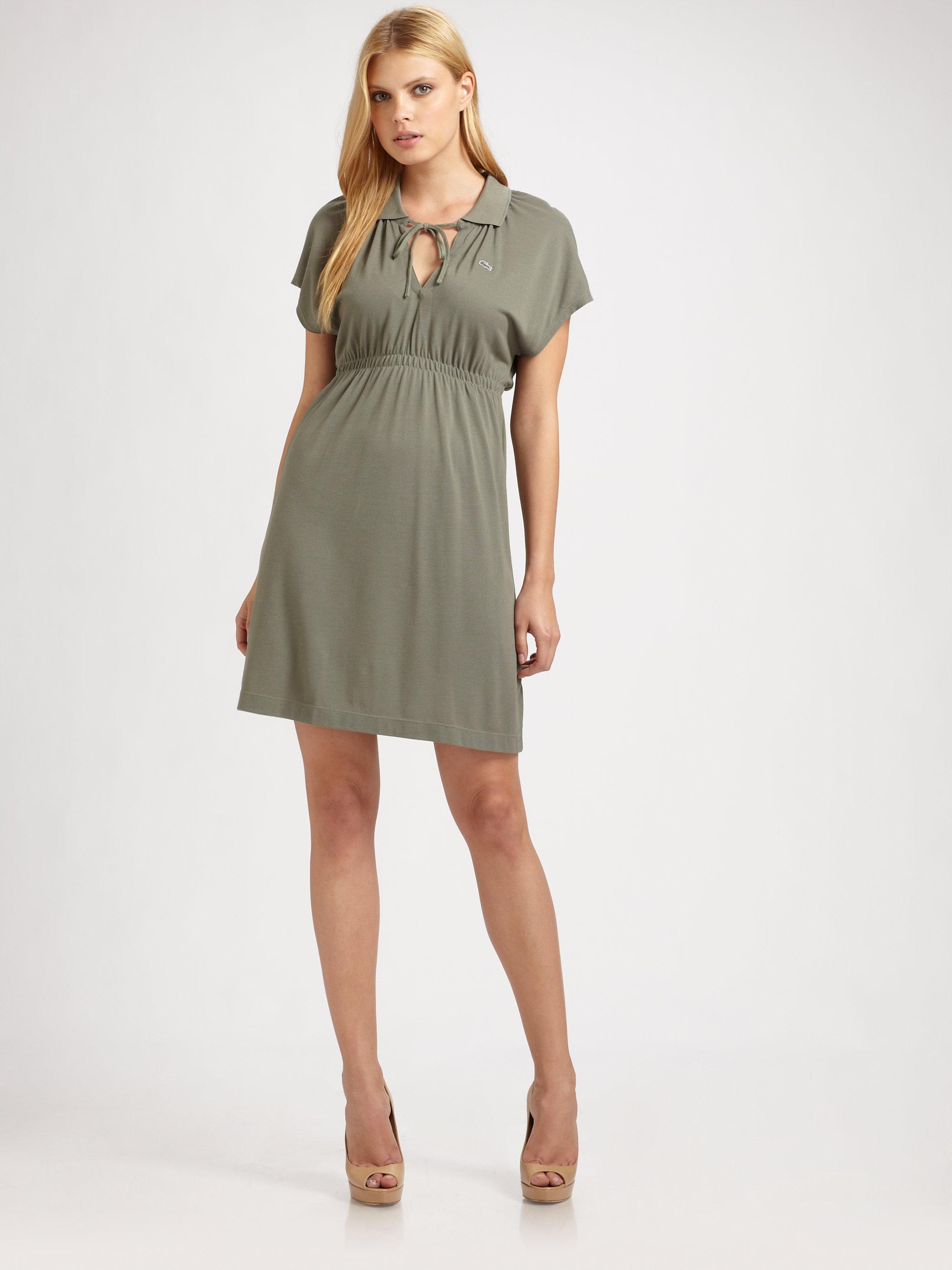 711257e6c2a17a Lyst - Lacoste Split placket Polo Dress in Green