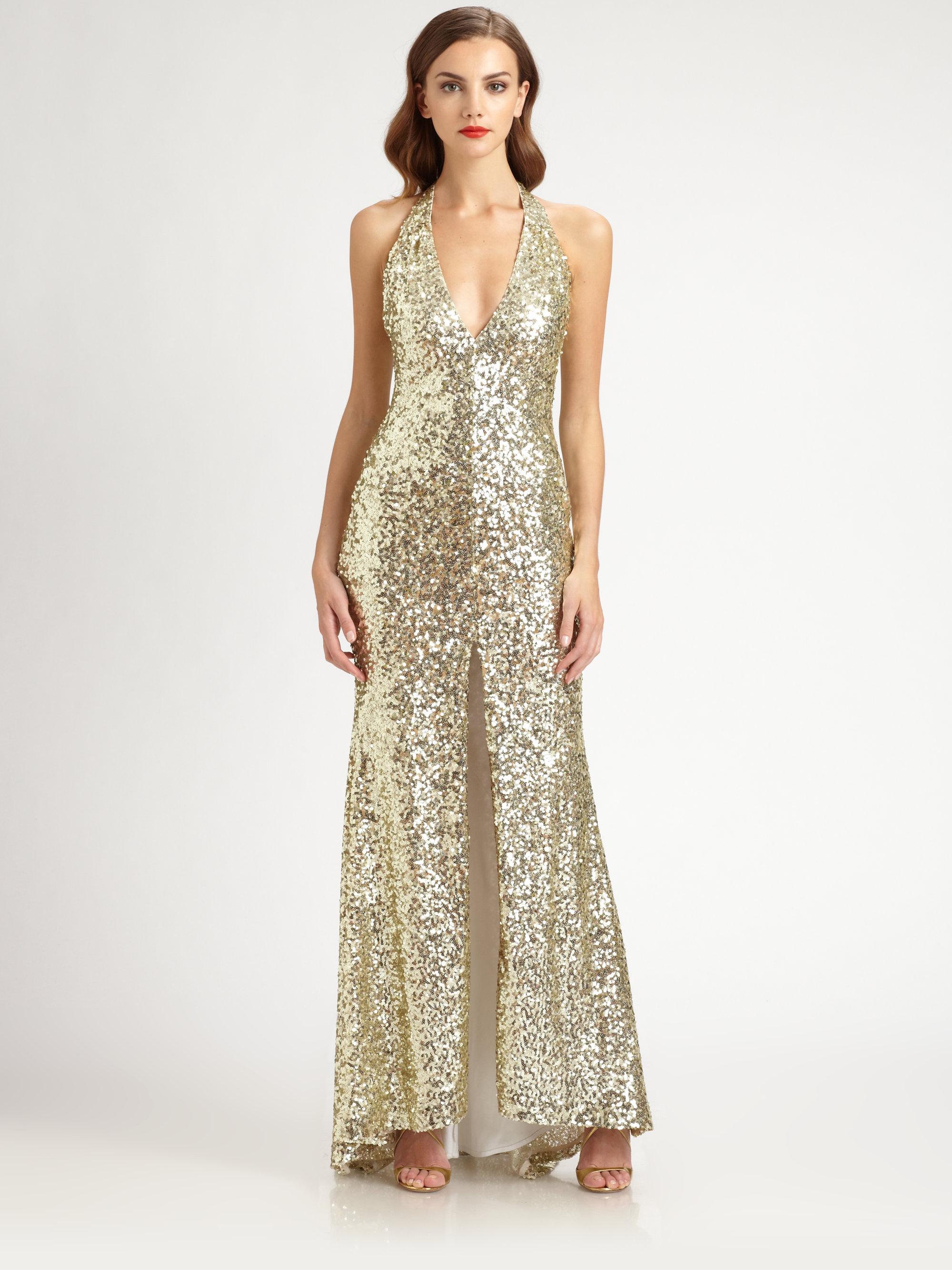 Badgley mischka Sequined Halter Gown in Metallic - Lyst