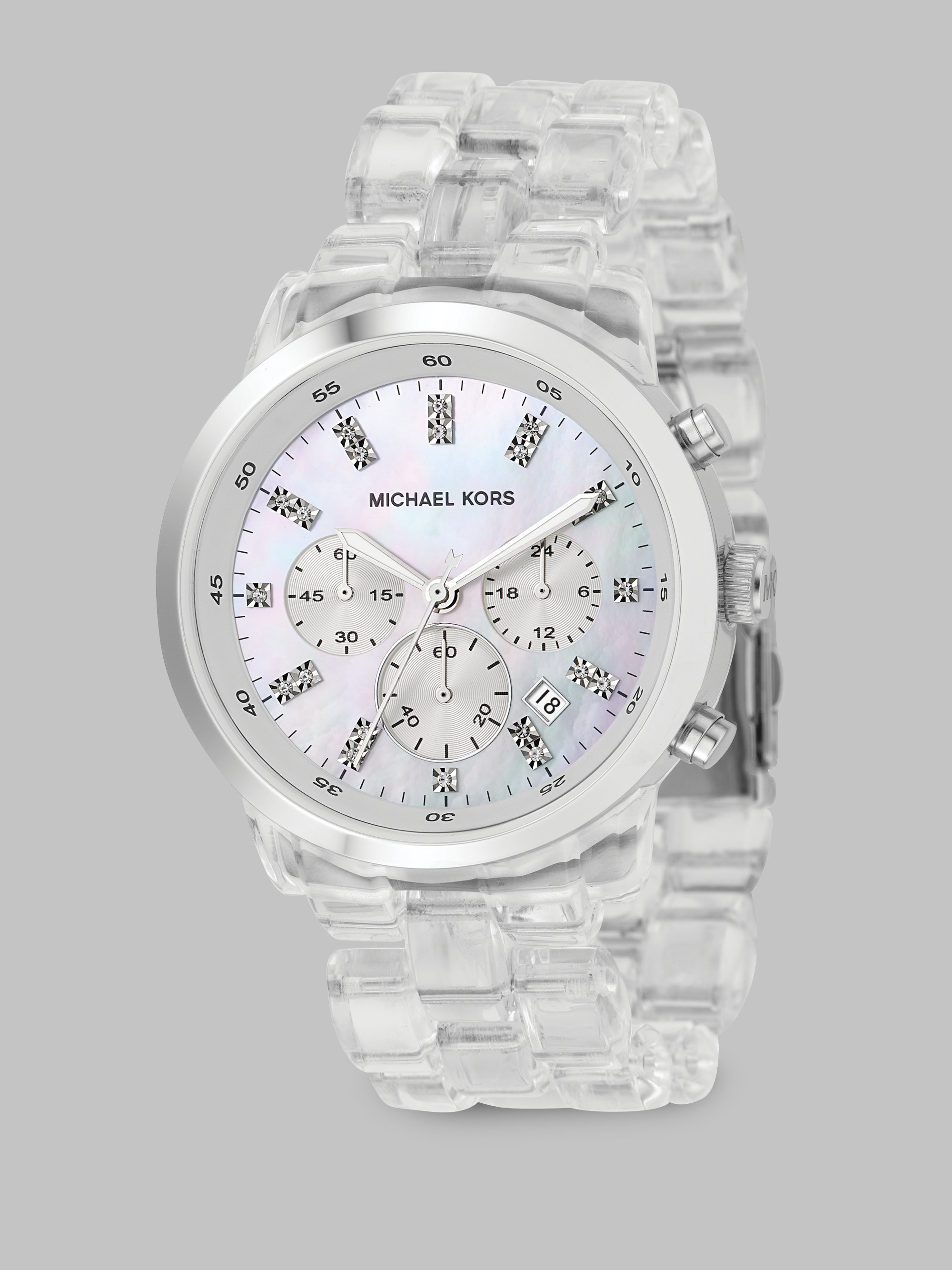 Lyst Michael Kors Clear Chronograph Bracelet Watch