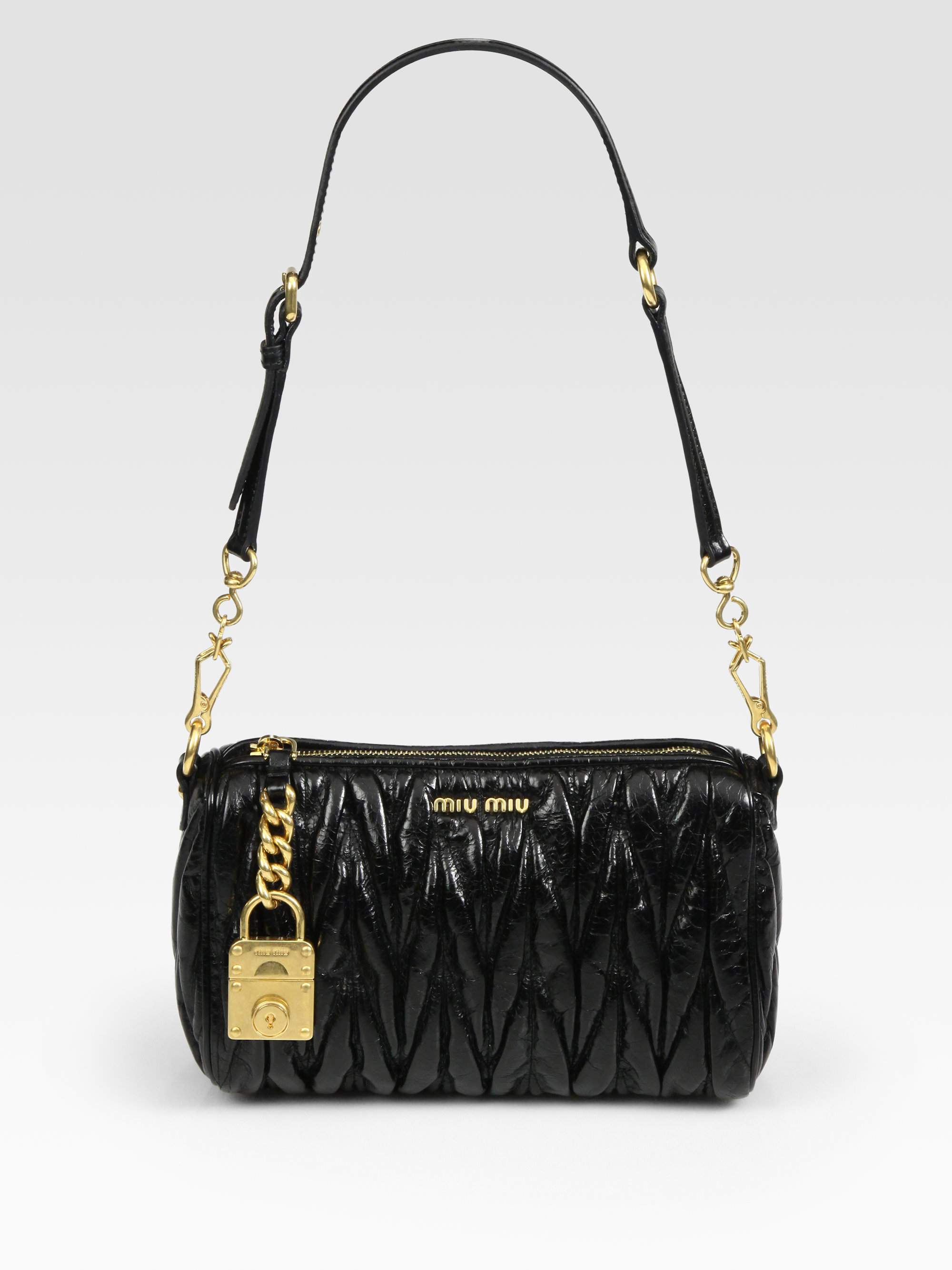 Lyst - Miu Miu Matelasse Lux Shoulder Bag in Black ac90663240