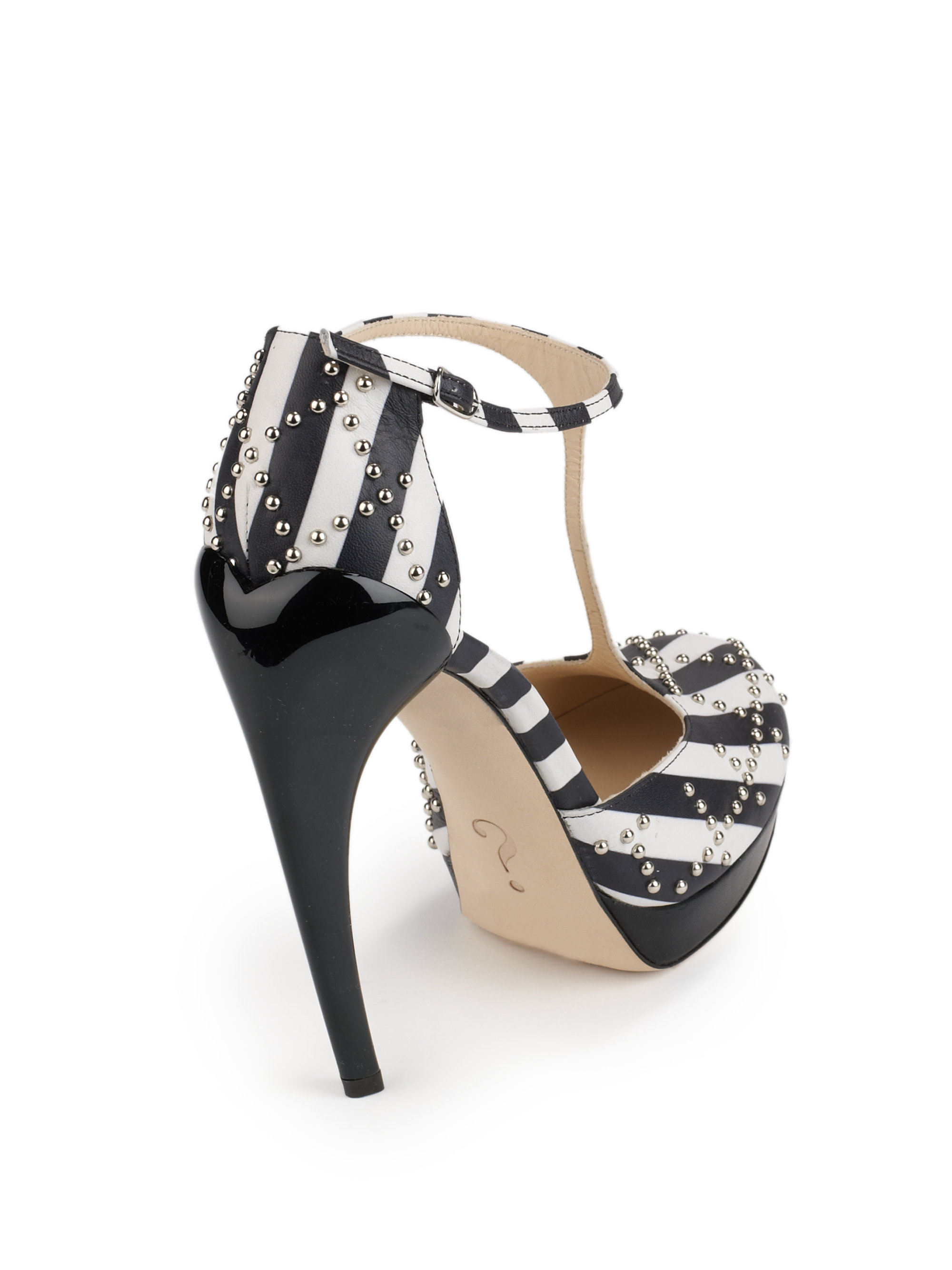 dc9303d073c Lyst - Moschino Striped Leather Tstrap Platform Pumps in Black
