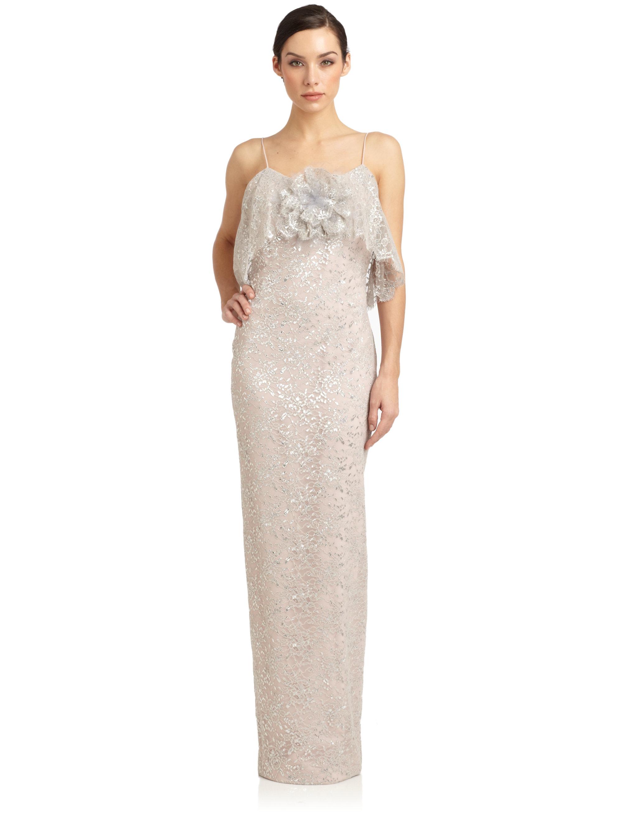 Notte by marchesa Ruffled Lace Slip Dress in Metallic