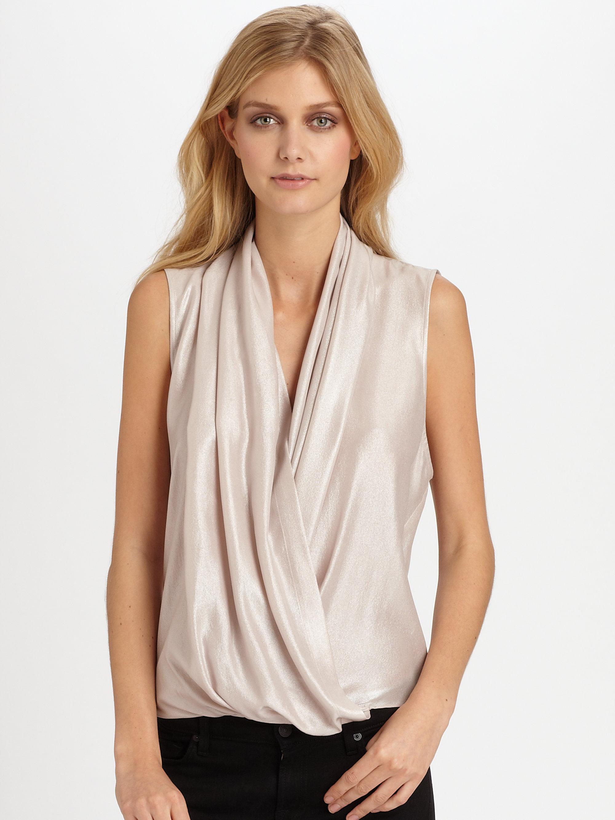 97c41f46a1b1d Lyst - Parker Grae Metallic Silk Top in Pink