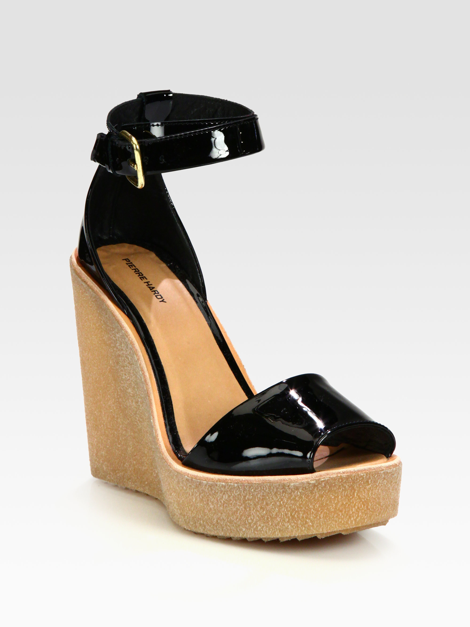 Pierre Hardy Patent Leather Ankle Strap Wedge Sandals in ...