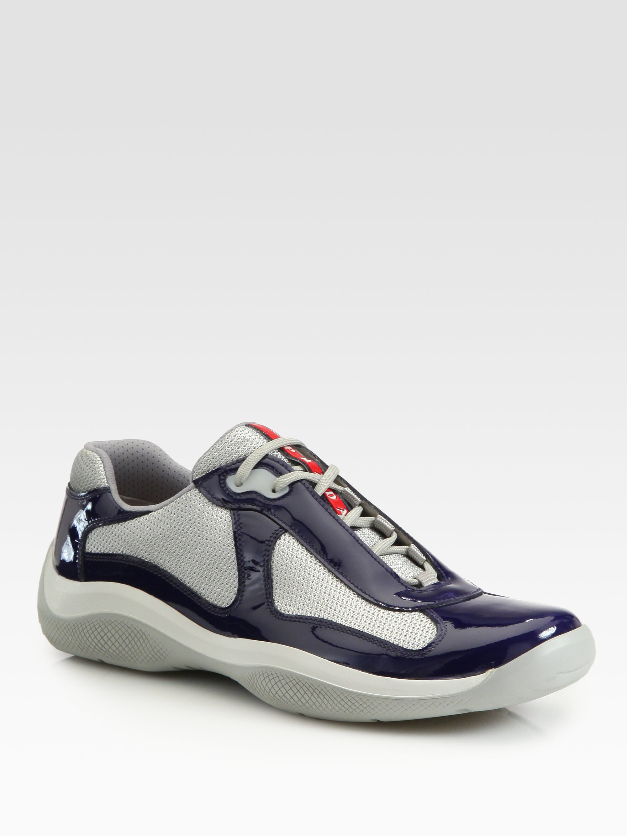 Prada Americas Cup Patent Leather Sneakers In Blue