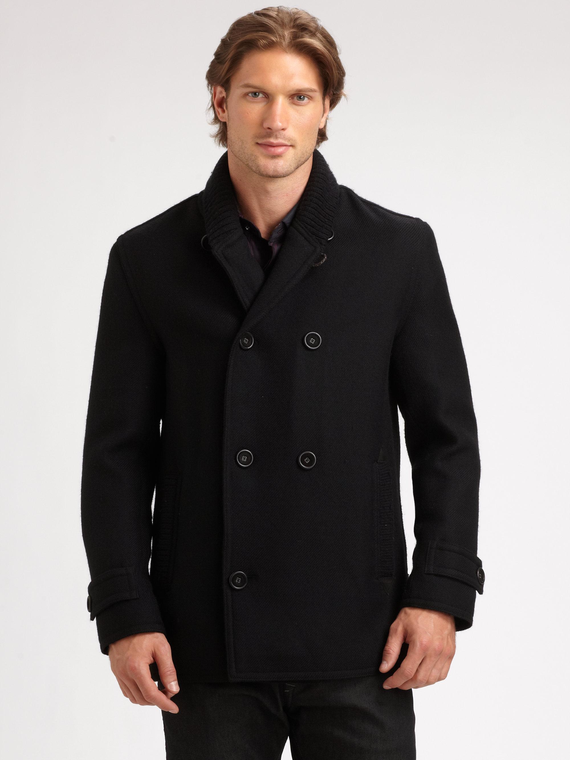 Lyst Robert Graham Baltic Wool Peacoat In Black For Men