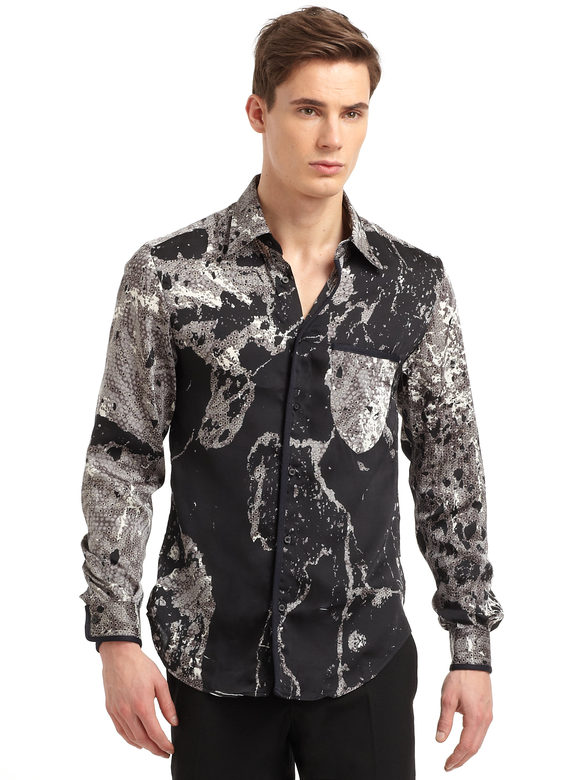 Roberto Cavalli Snake Print Sport Shirt In Black For Men Lyst