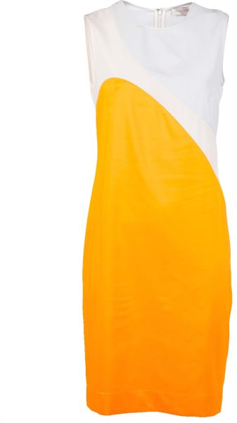 Stella Mccartney Silk Dress in White (orange) - Lyst