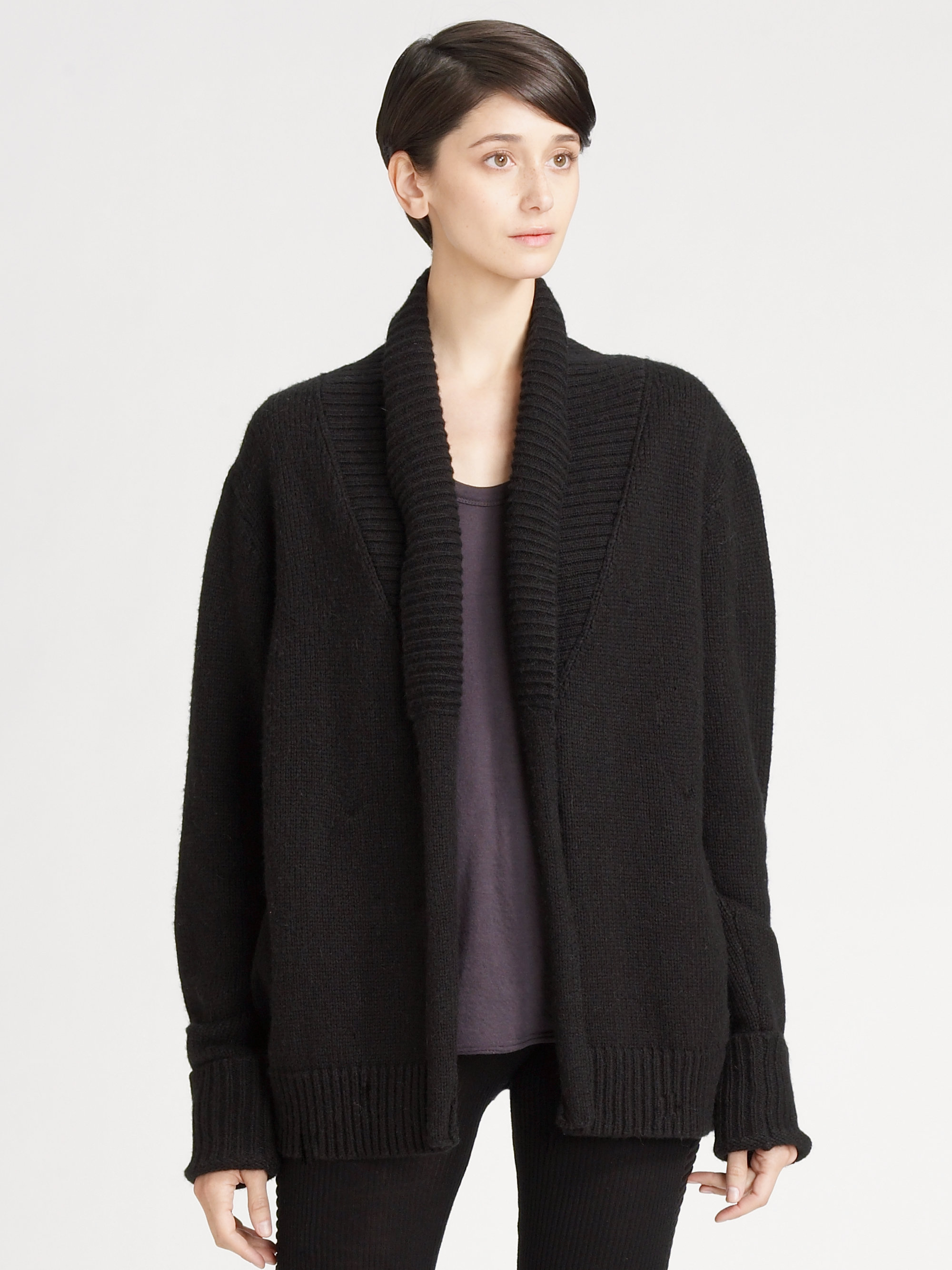 t by alexander wang grandpa cardigan in black lyst. Black Bedroom Furniture Sets. Home Design Ideas