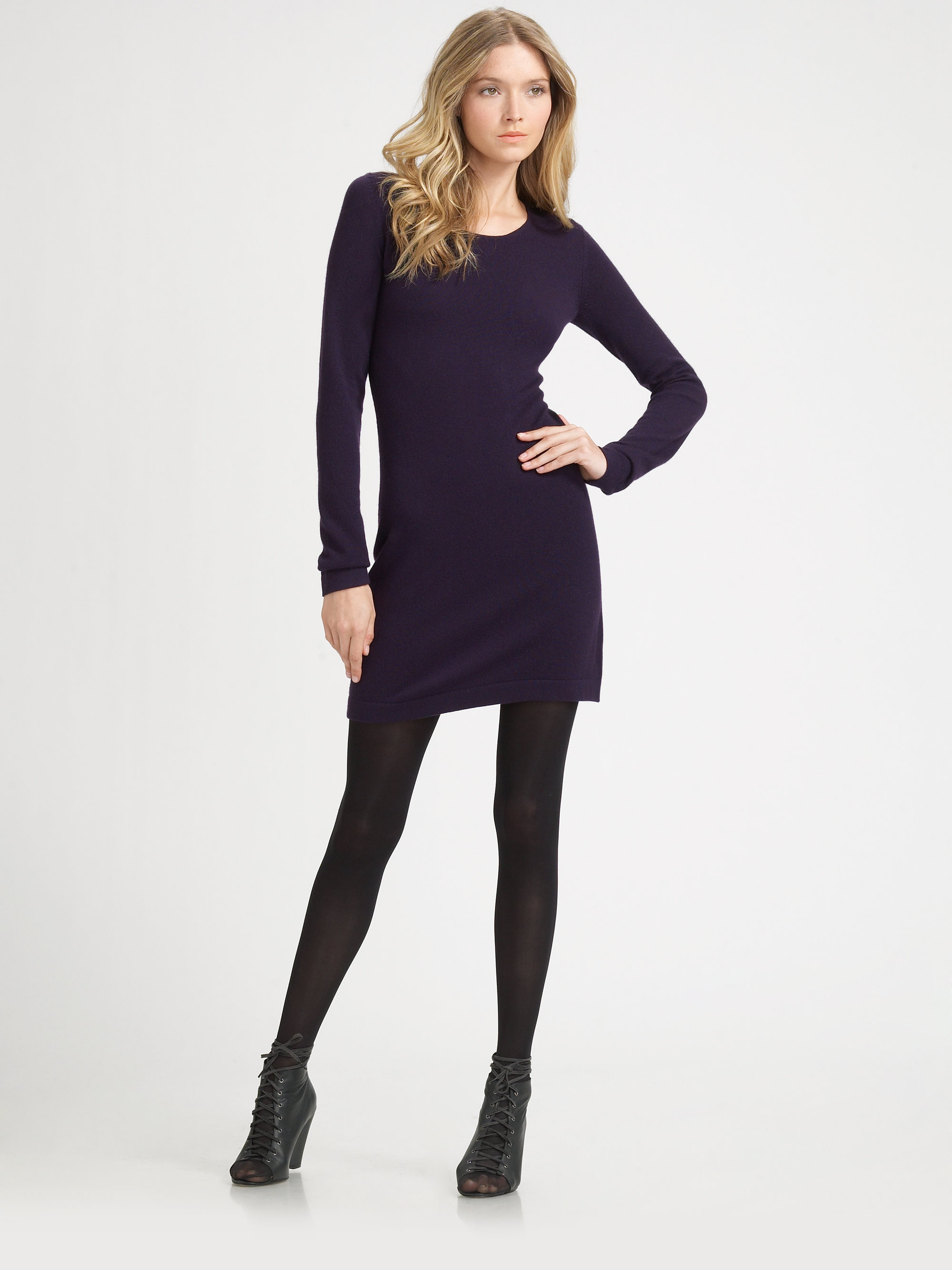 Theory Cashmere Sweater Dress in Purple | Lyst