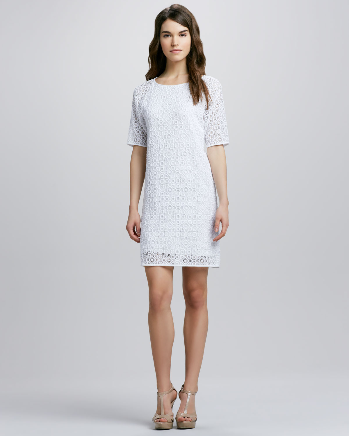Tibi Short Sleeve Lace Shift Dress in White | Lyst
