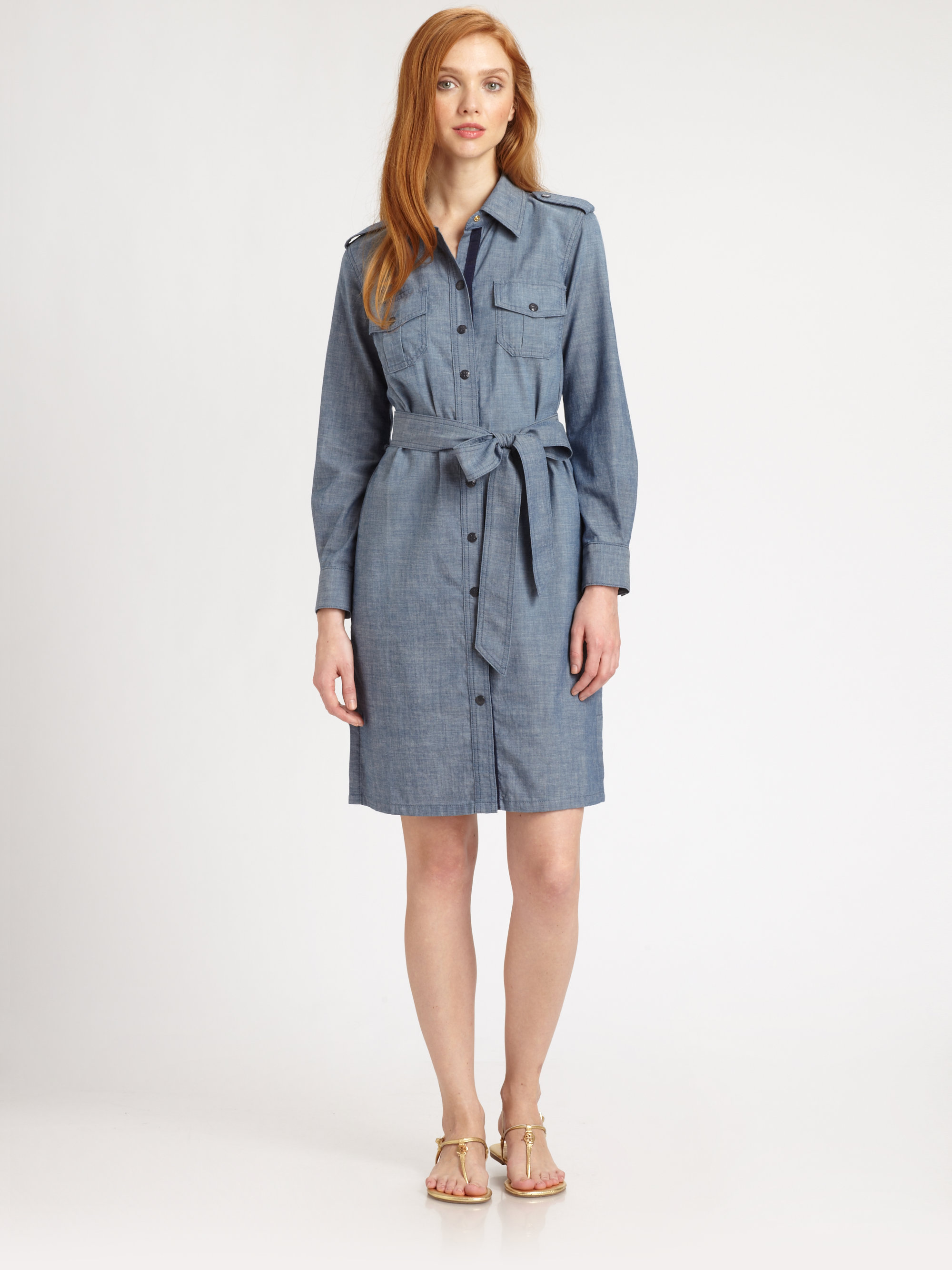 Tory Burch Brigitte Cotton Chambray Shirtdress In Blue Lyst