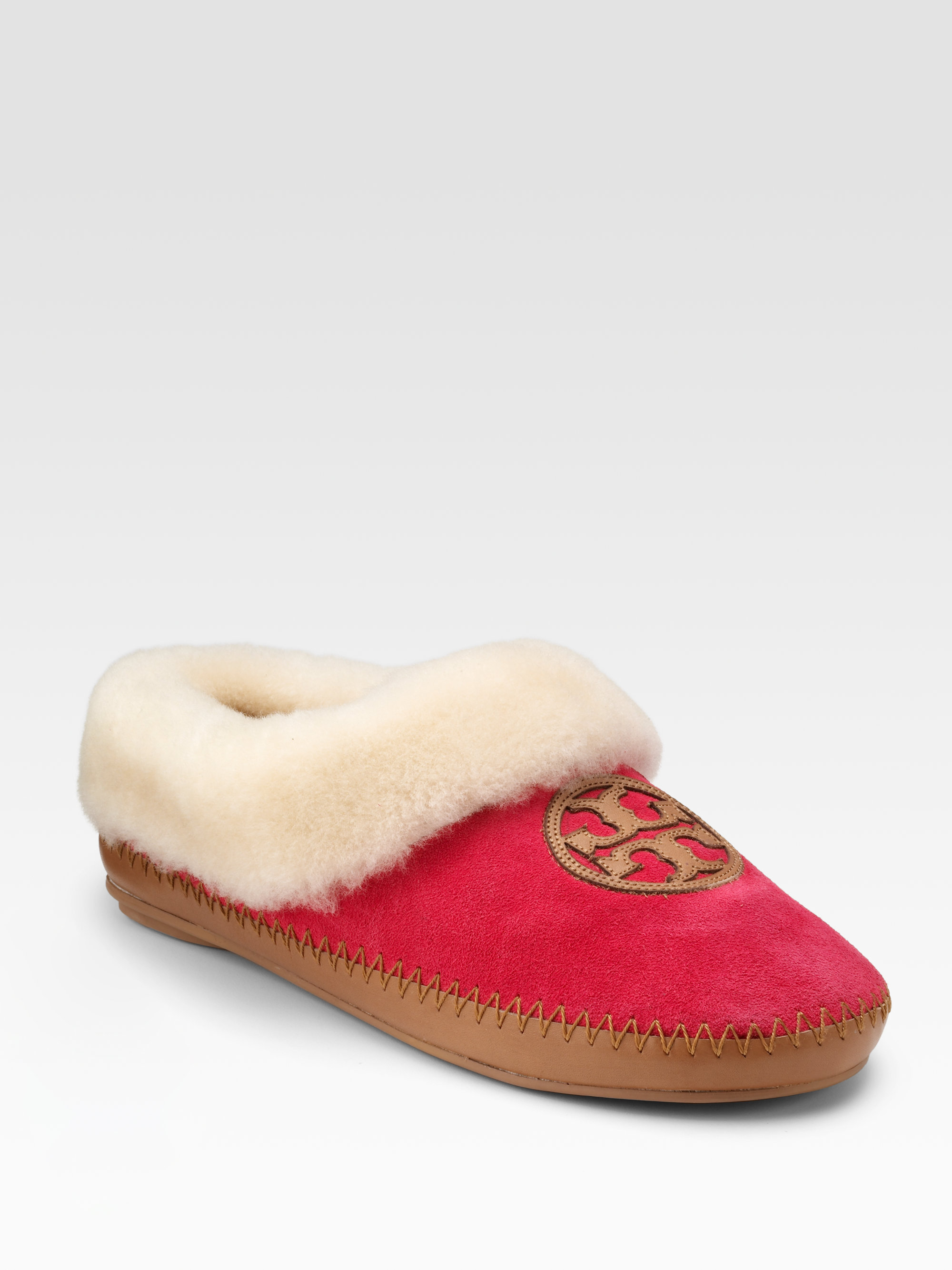 d814b800e1f Lyst - Tory Burch Coley Suede Shearlinglined Slippers in Red