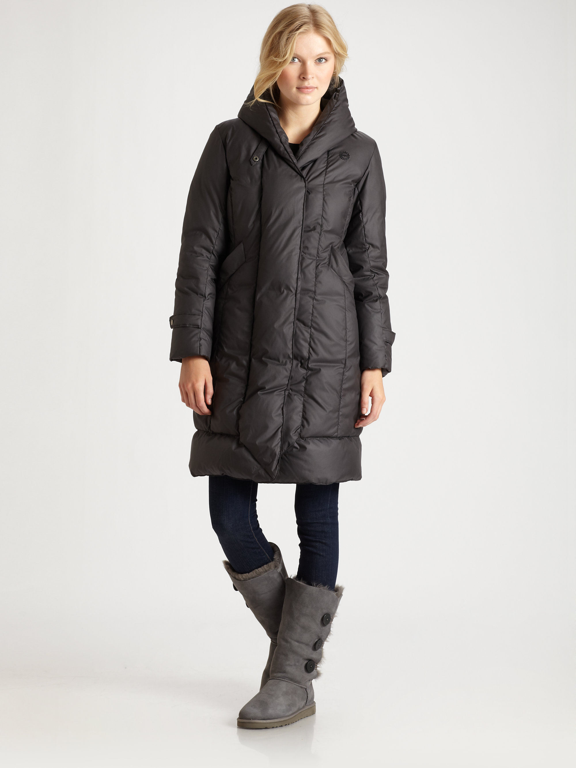 Lyst Ugg Hooded Puffer Coat In Black