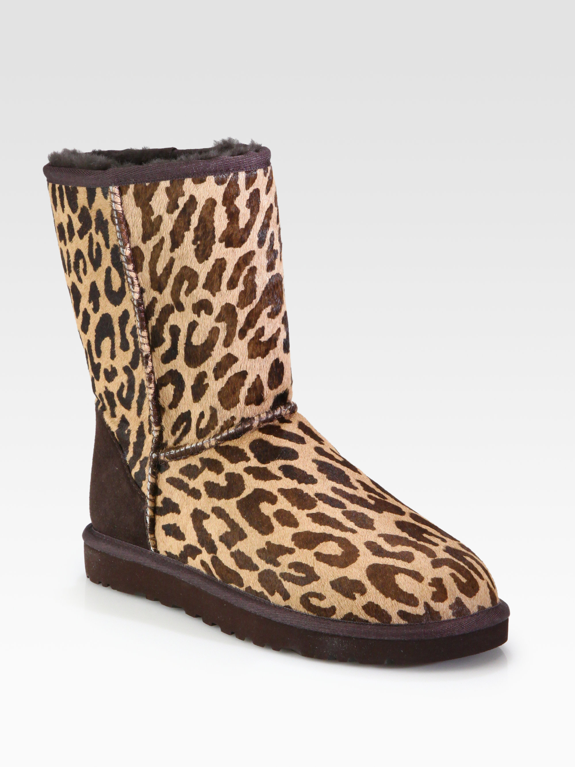 7ba883f3ccd6 Lyst - UGG Classic Short Leopardprint Calf Hair Boots in Brown