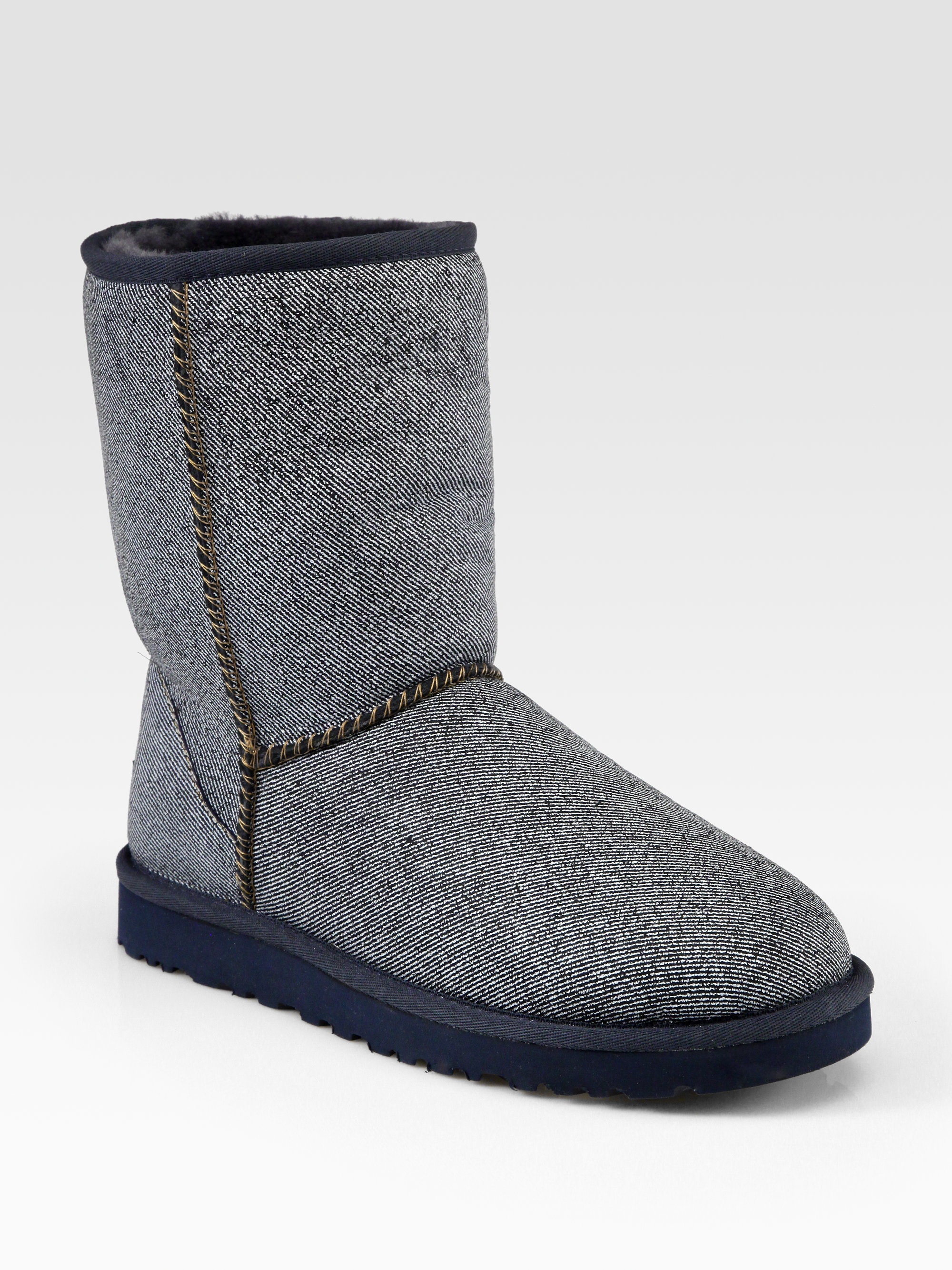 ugg classic short painted suede boots in gray denim lyst. Black Bedroom Furniture Sets. Home Design Ideas