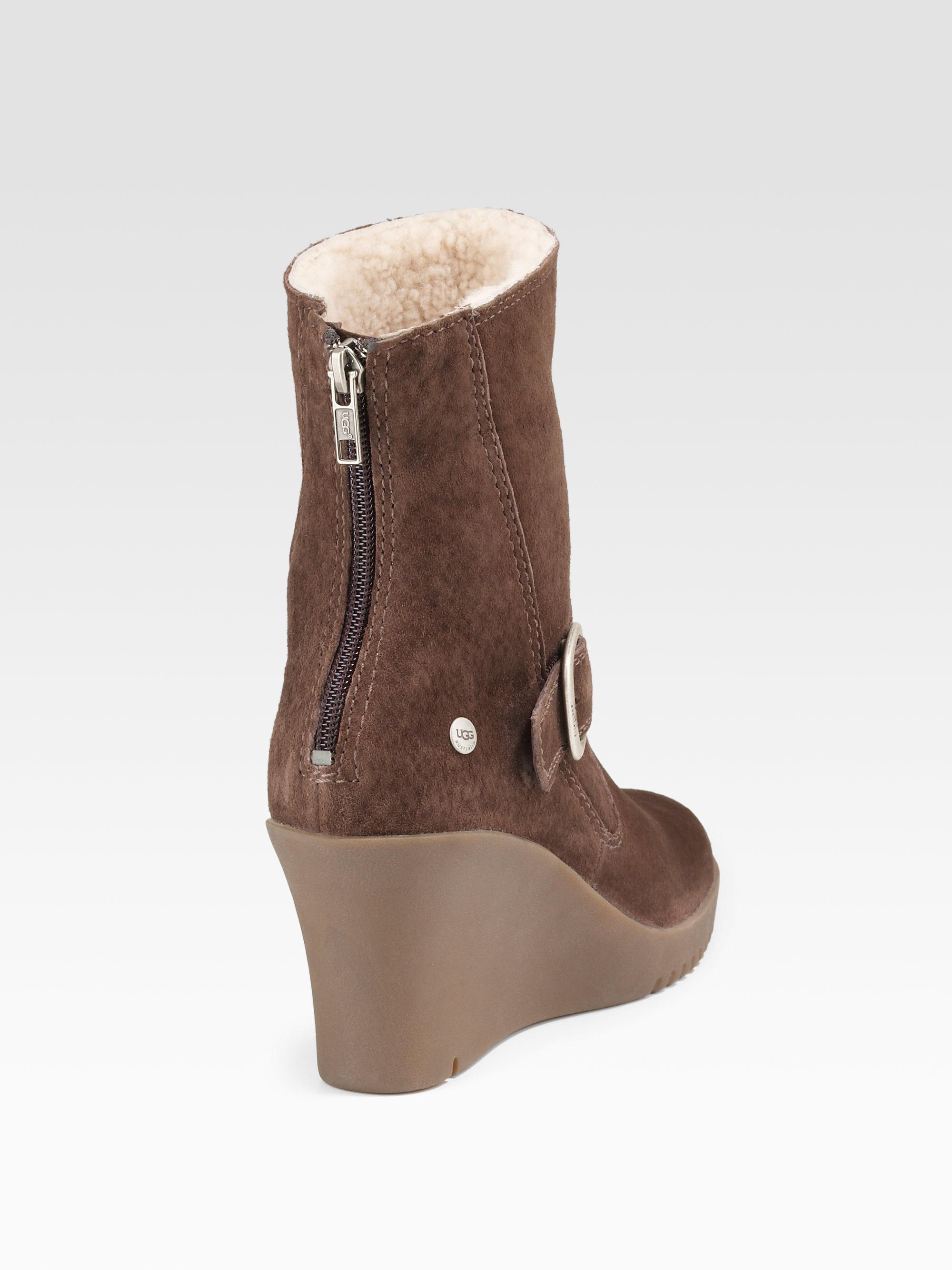 a2f4c499fb67 ... usa lyst ugg gissella suede wedge ankle boots in brown fa1c3 2b9f3