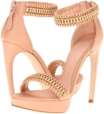 Alexander McQueen Gold-tone hardware is woven into the vamp and ankle straps. - Lyst