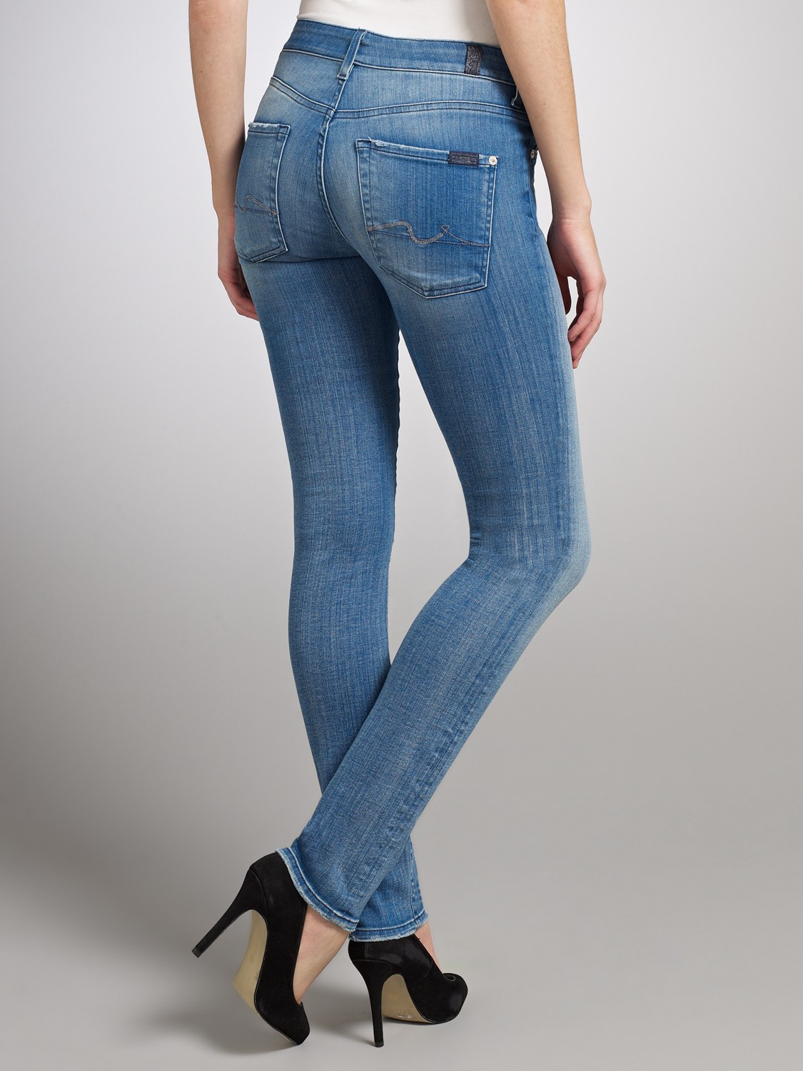 7 for all mankind Cristen Mid Rise Skinny Jeans in Blue | Lyst