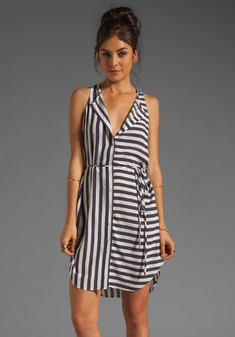 Charles Henry Sleeveless Button Front Dress in Navy-White Stripe - Lyst