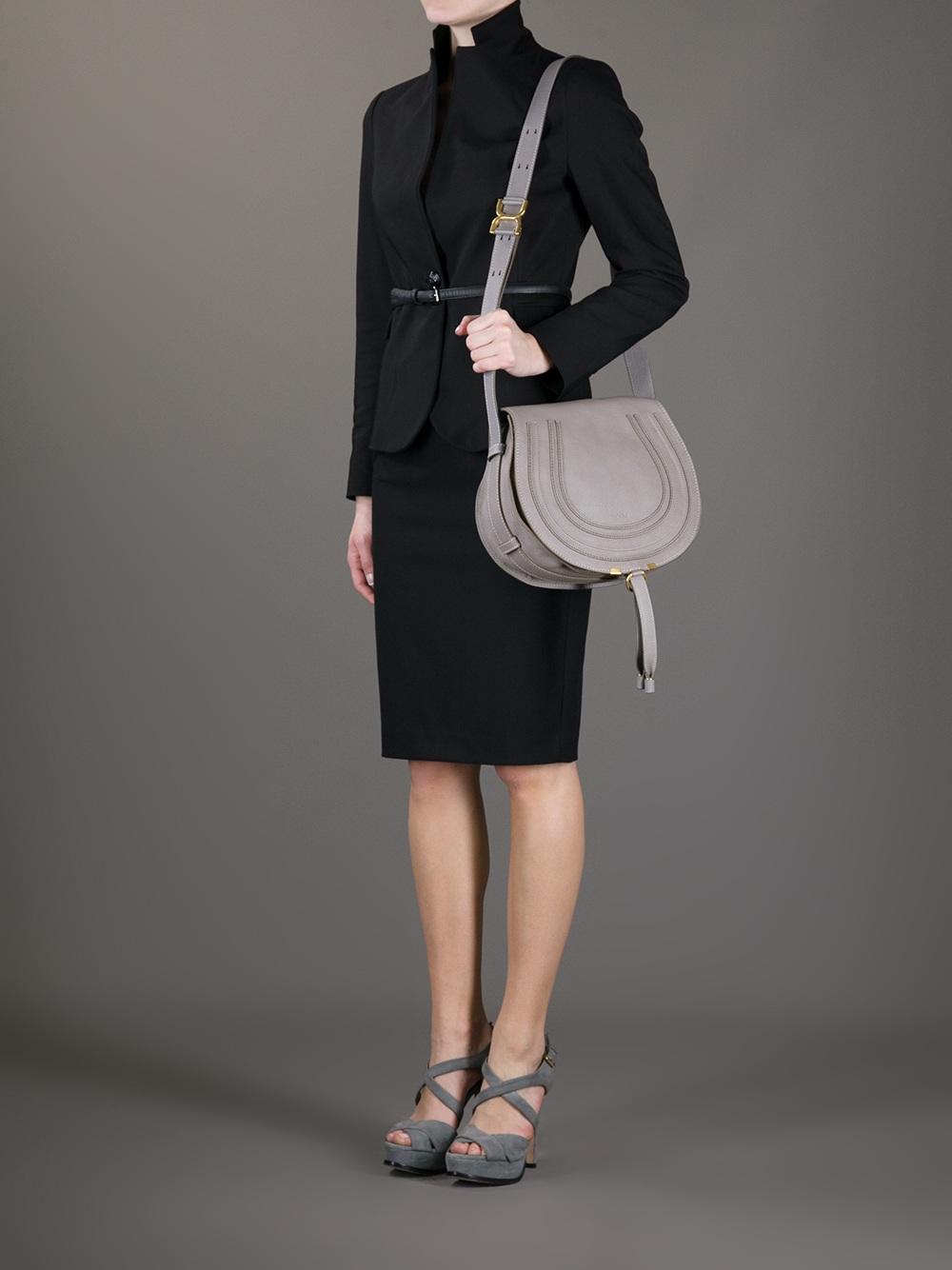 041feb5fa04 Chloé Marcie Cross Body Bag in Gray - Lyst