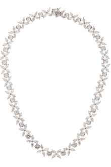 Cz By Kenneth Jay Lane Navette Flower Cubic Zirconia Necklace - Lyst
