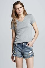 Free People Lana Embroidered Denim Shorts - Lyst