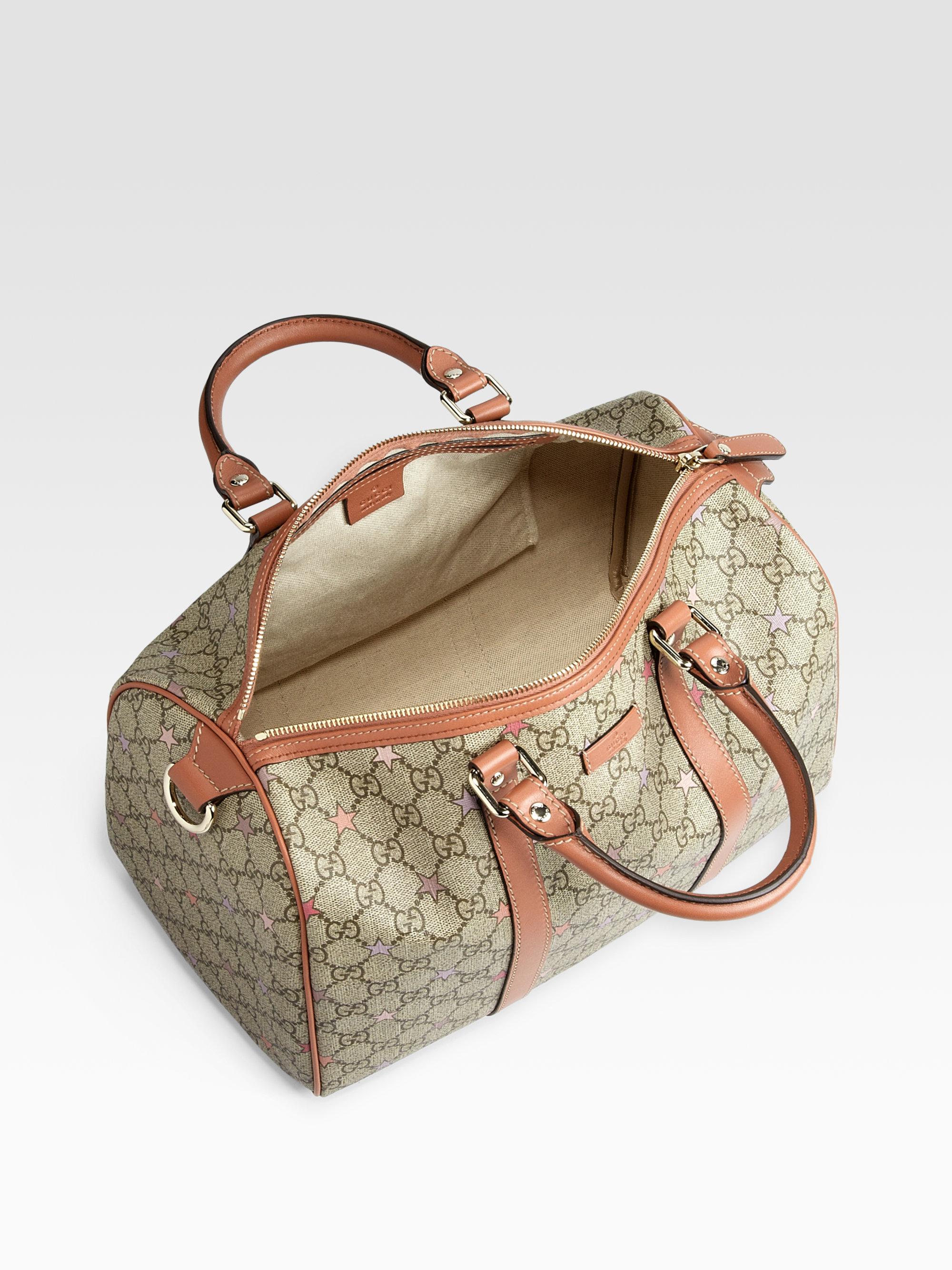 7791caa4f47 Lyst - Gucci Joy Gg Supreme Stars Canvas Boston Bag in Natural