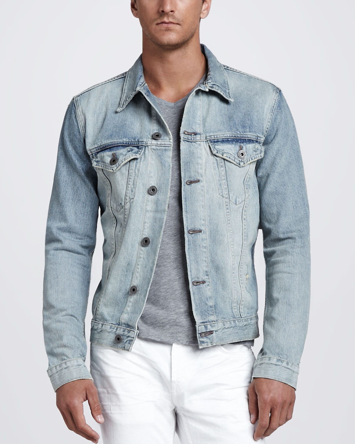 J brand Owen Light Wash Denim Jacket in Blue for Men | Lyst