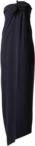 Lanvin Strapless Crepe Silk Dress - Lyst