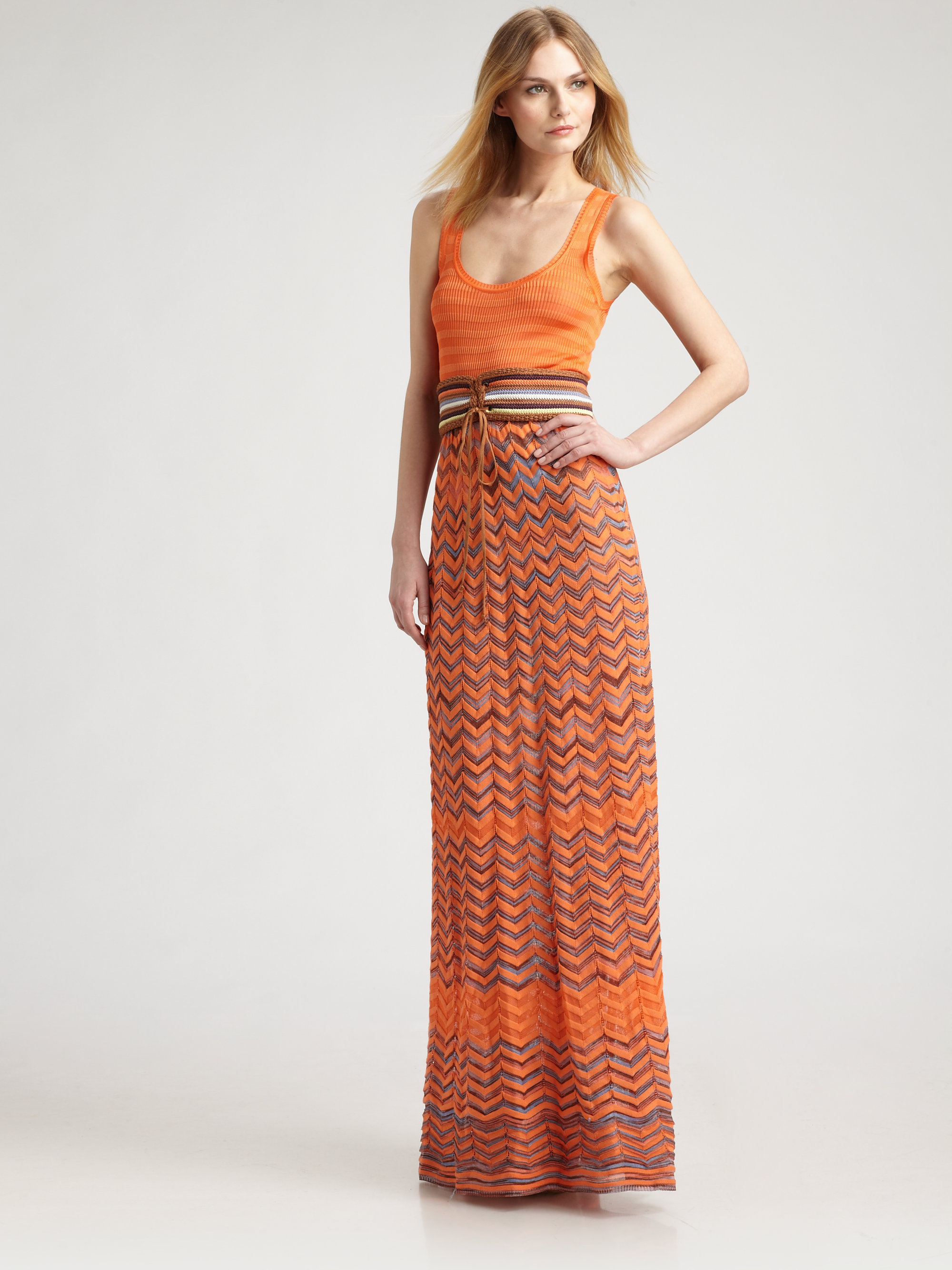 M missoni Zigzag Maxi Dress in Orange | Lyst