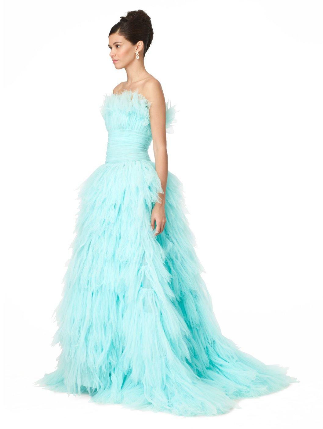 Lyst - Oscar De La Renta Strpls Crush Pleated Tiered Gown in Blue
