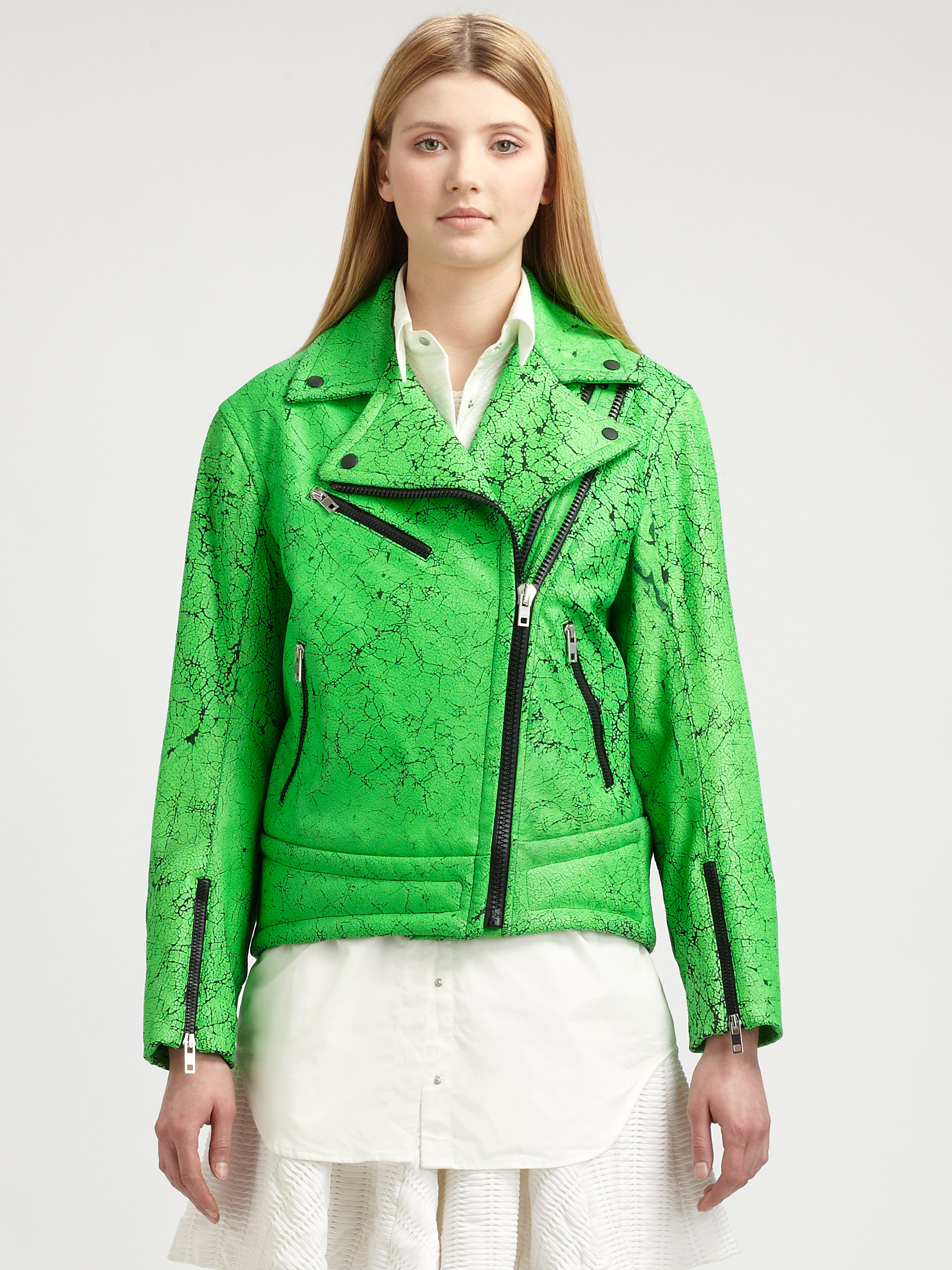 Rag & bone Monaco Leather Moto Jacket in Green | Lyst