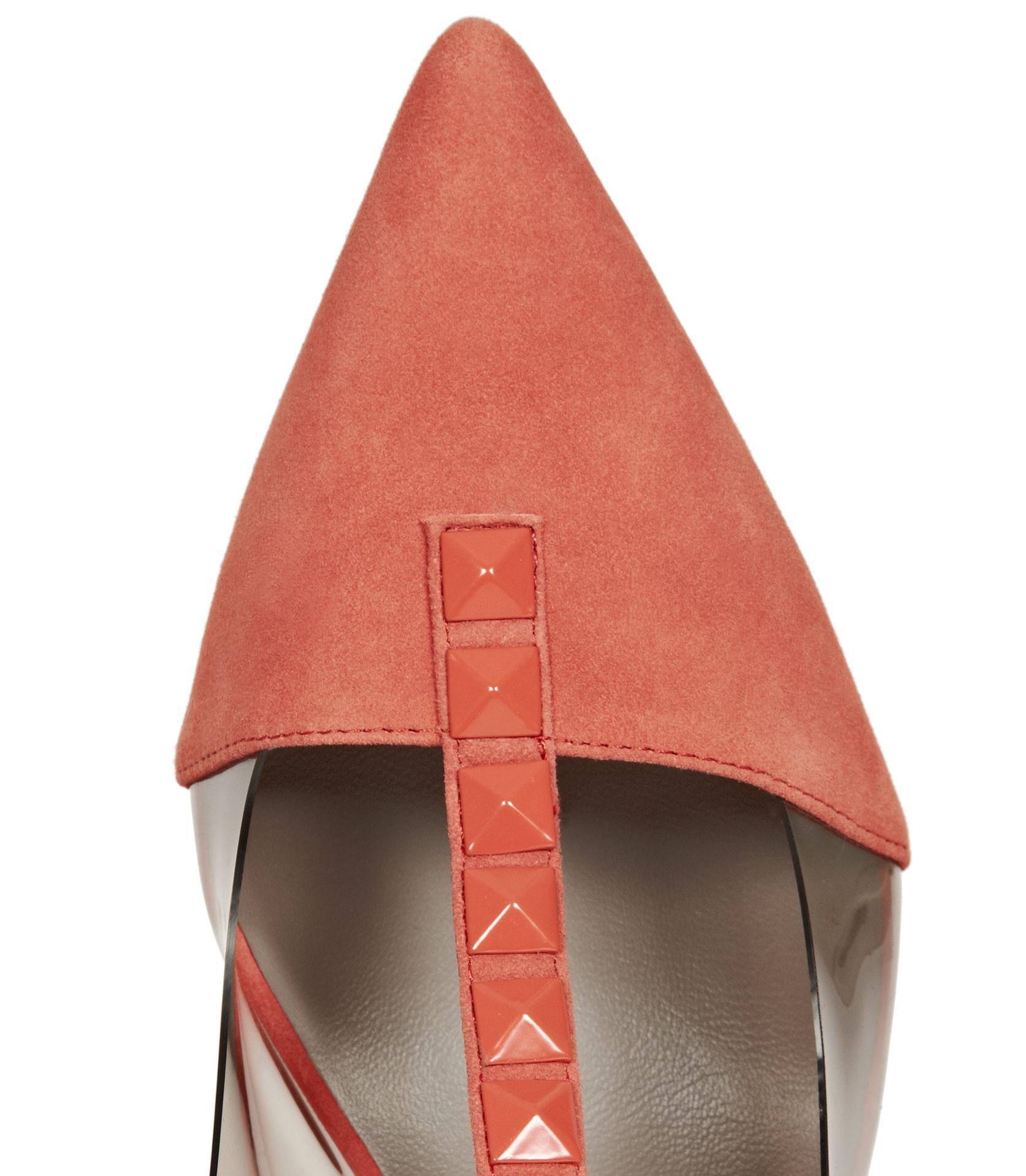 f9931c46c4d Lyst - Reiss Henriette Pyramid Stud Kitten Heel Slingbacks in Pink