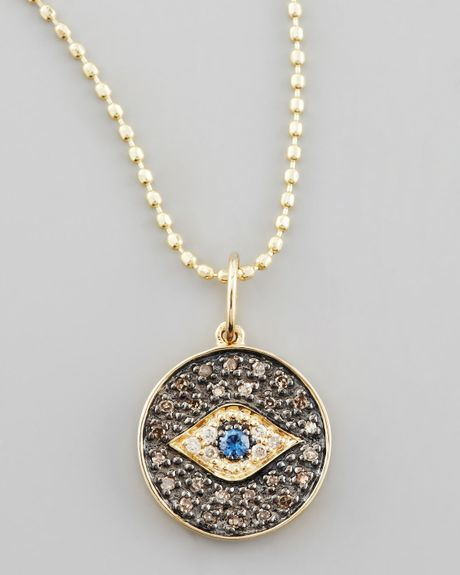 sydney evan small diamond evil eye medallion necklace in. Black Bedroom Furniture Sets. Home Design Ideas