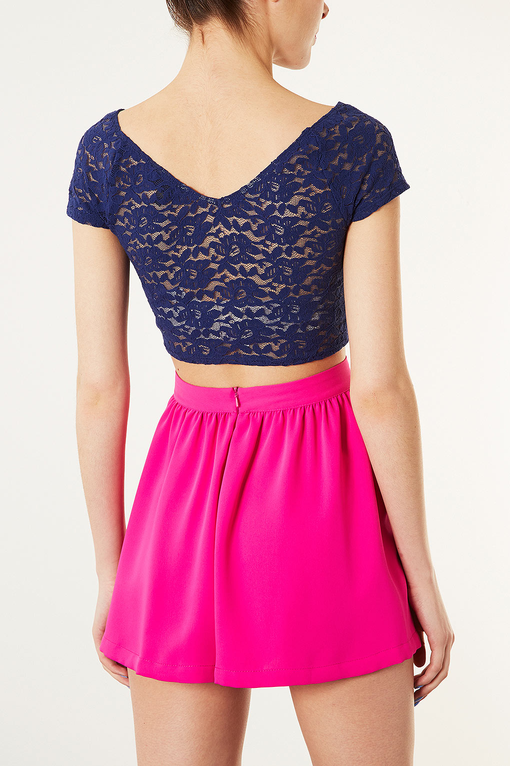 topshop lace bardot crop top in blue