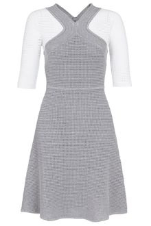 Yigal Azrouel Grey Cotton Waffle Knit Dress - Lyst