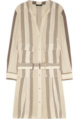 Belstaff Madison Striped Silk Crepe De Chine Dress - Lyst