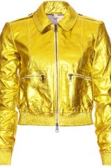 Burberry Brit Statonbury Metallic Leather Bomber Jacket