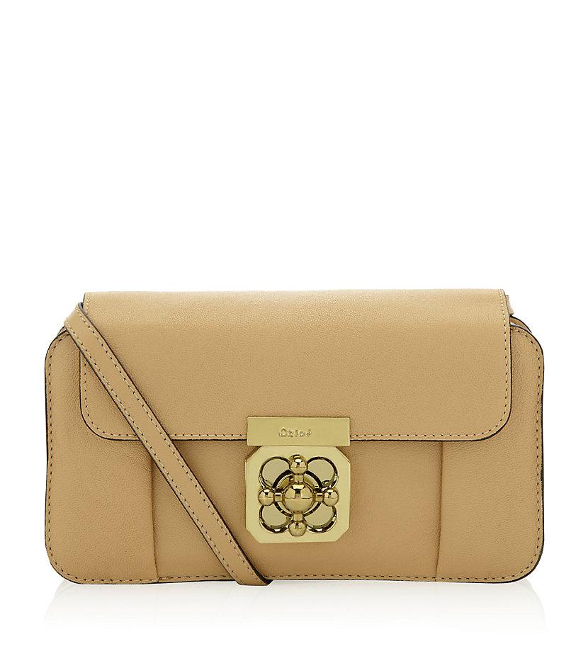 Chlo¨¦ Elsie Leather Strap Mini Bag in Beige | Lyst